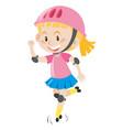 girl in pink helmet rollerskating vector image