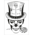 man in skull mask top hat with rose vector image