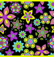 seamless pattern with flowers on black vector image