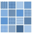 Set of seamless geometric patterns in blue vector image