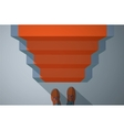 Career upstairs steps young man begin way red vector image