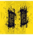 Tire tracks yellow background vector image