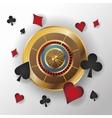 Casino gold roulette design vector image