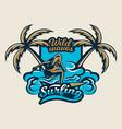 colorful logo emblem sticker surfer girl is vector image