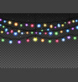 glowing garland set on transparent background vector image