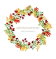 Hand drawn wreath of hawthorn and autumn leaves vector image