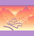 landscape of mountain sunset traveling design vector image