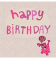 Pink monster with candy happy birthday vector image