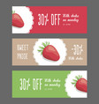 set of horizontal narrow banners with strawberries vector image