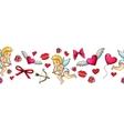 Colorful sketch valentine horizontal border vector image