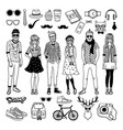 funny hipster characters with funky fashioned vector image