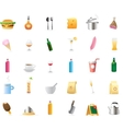 30 detailed icons for food and drinks vector image