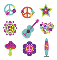 Hippie style art elements vector image