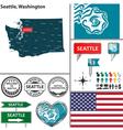 Seattle Washington set vector image