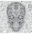 human skull made of flowers vector image