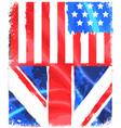 american and england grunge flag vector image