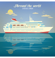 Around the World Travel Banner with Cruise Liner vector image