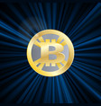 crypto currency bitcoin gold symbol rays vector image