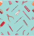 manicure equipment seamless pattern hand drawn vector image