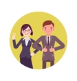 Office workers standing and smiling vector image