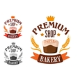 Premium bakery shop symbol with cake vector image