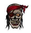 Danger pirate skull in red bandane vector image