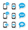 Mobile sms text message mail icons set as labels Vector Image