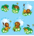Set hand drawn images with funny lion play with vector image vector image