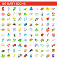 100 baby icons set isometric 3d style vector image
