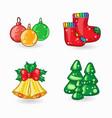 set of christmas cartoon icons vector image