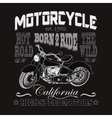 Motorcycle Racing Typography California Motors vector image