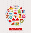 Merry Christmas Celebration Card with Traditional vector image vector image