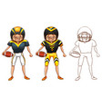 doodle character for american football player vector image