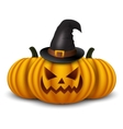 Halloween background with three pumpkins vector image