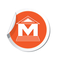 museum icon orange sticker vector image