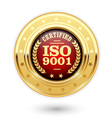 ISO 9001 certified medal - quality management vector image