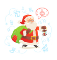 Cute Santa Claus with sack isolated on background vector image