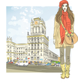stylish girl in the city-center vector image