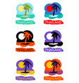 icons set palm tree emblems vector image