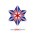 Design element star with United Kingdom flag vector image