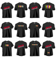 6 Rock T-shirts set front and back side vector image vector image