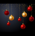 christmas gold and red balls over black background vector image