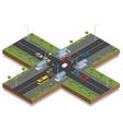 Crossroads and road markings isometric vector image