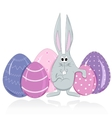 Easter bunny and eggs in a cartoon style vector image