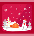 smiling snowman and house vector image