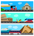 Transport travel horizontal banners vector image