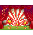 The colorful flowers with musical notes at the vector image vector image