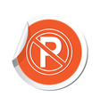 no parking icon orange sticker vector image