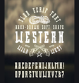 Serif font in the western style hand drawn vector image