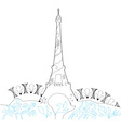 Ornate Eiffel Tower Silhouette vector image vector image